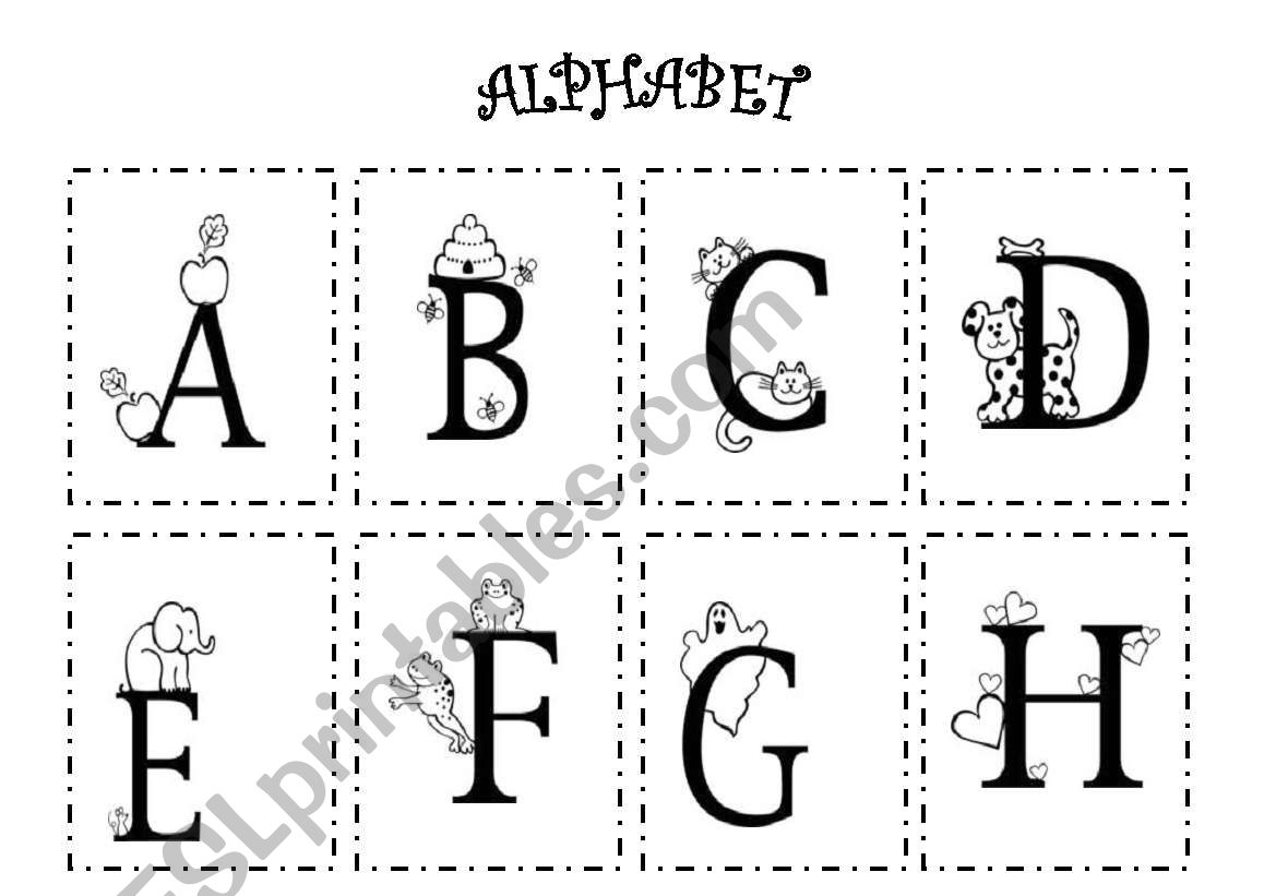 English Worksheets Black And White Alphabet
