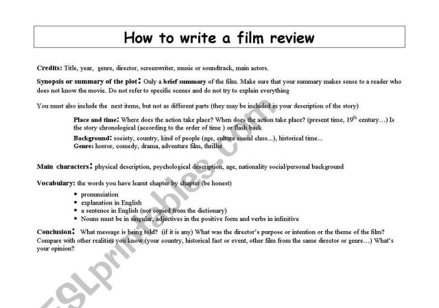 How to write a film review - ESL worksheet by audreyhepburn