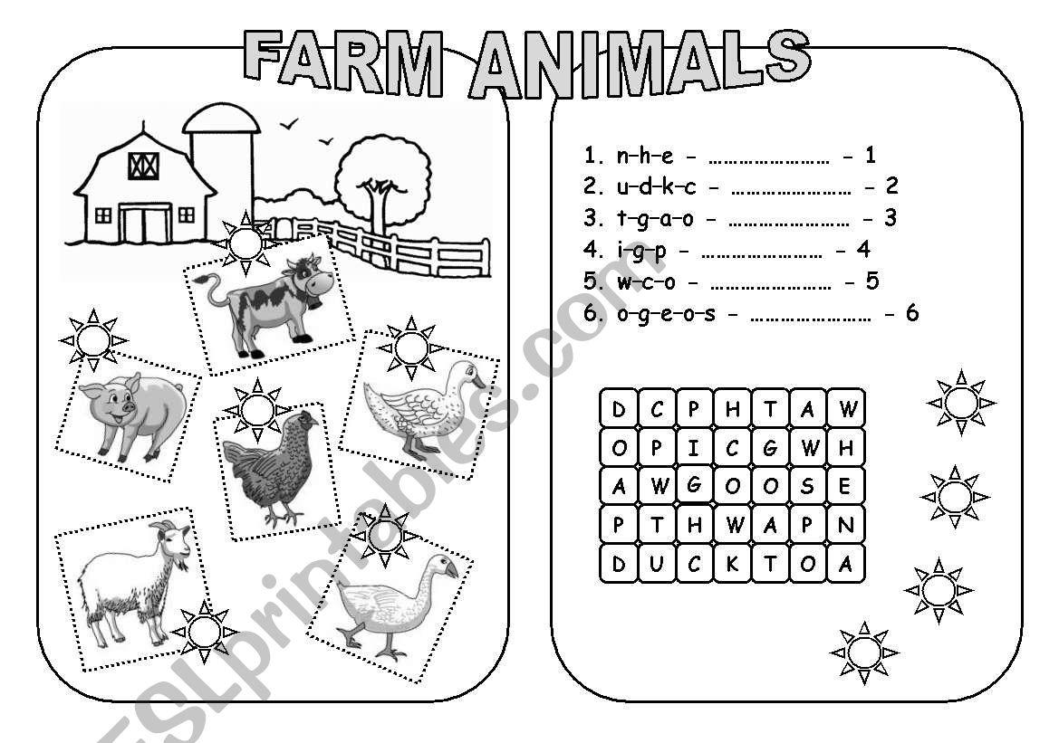 Farm Animals B Amp W Version