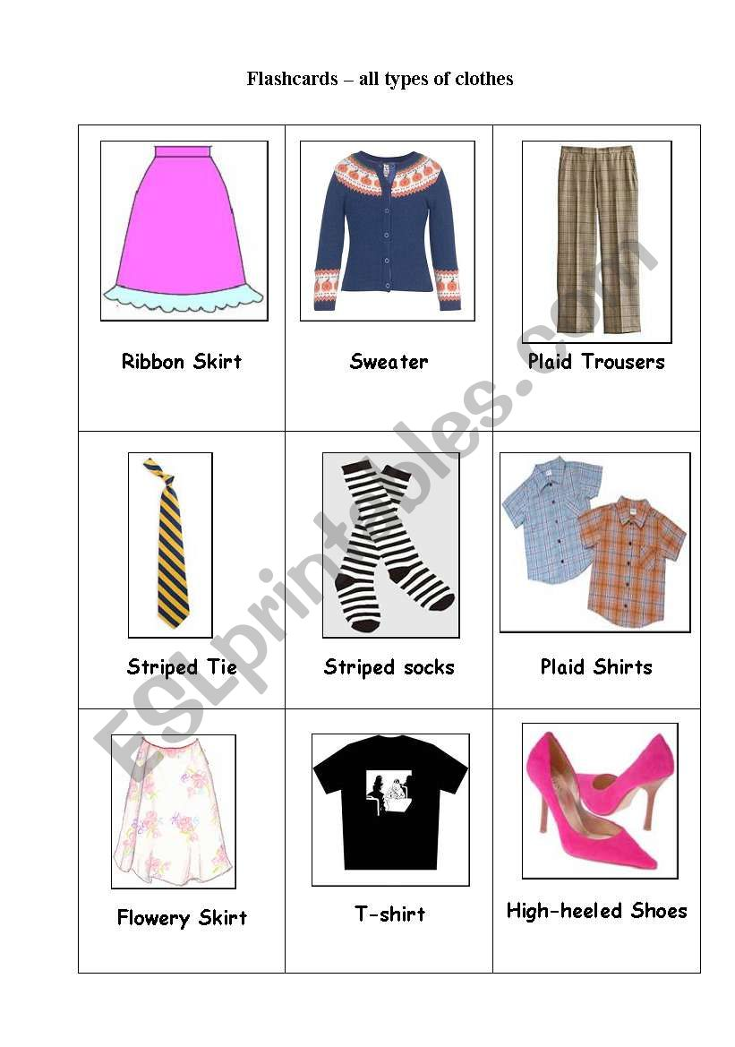 flashcards clothes material and