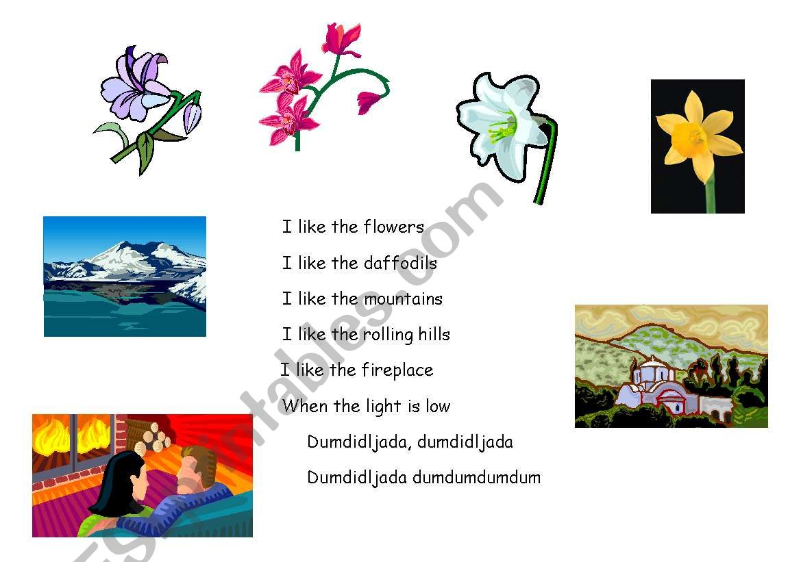 English Worksheets Song And Poem I Like The Flowers