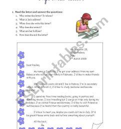 Informal letter writing - ESL worksheet by Ewcik [ 1169 x 821 Pixel ]