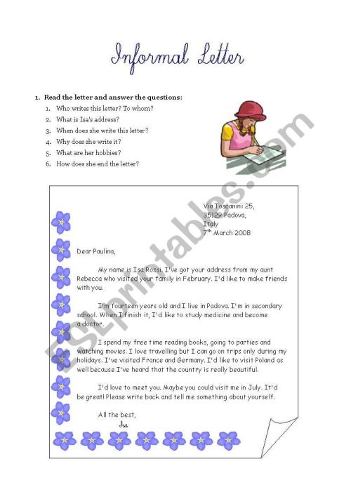 small resolution of Informal letter writing - ESL worksheet by Ewcik