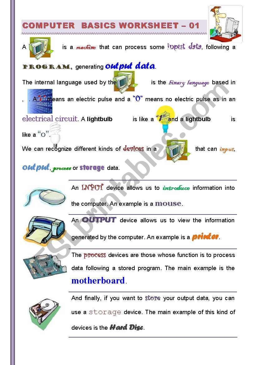 hight resolution of PART I/2 )Computer Basics: Getting familiarized with Computers (For  Children and adults) ICT - ESL worksheet by jtdr
