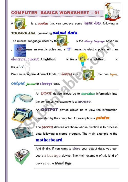 small resolution of PART I/2 )Computer Basics: Getting familiarized with Computers (For  Children and adults) ICT - ESL worksheet by jtdr