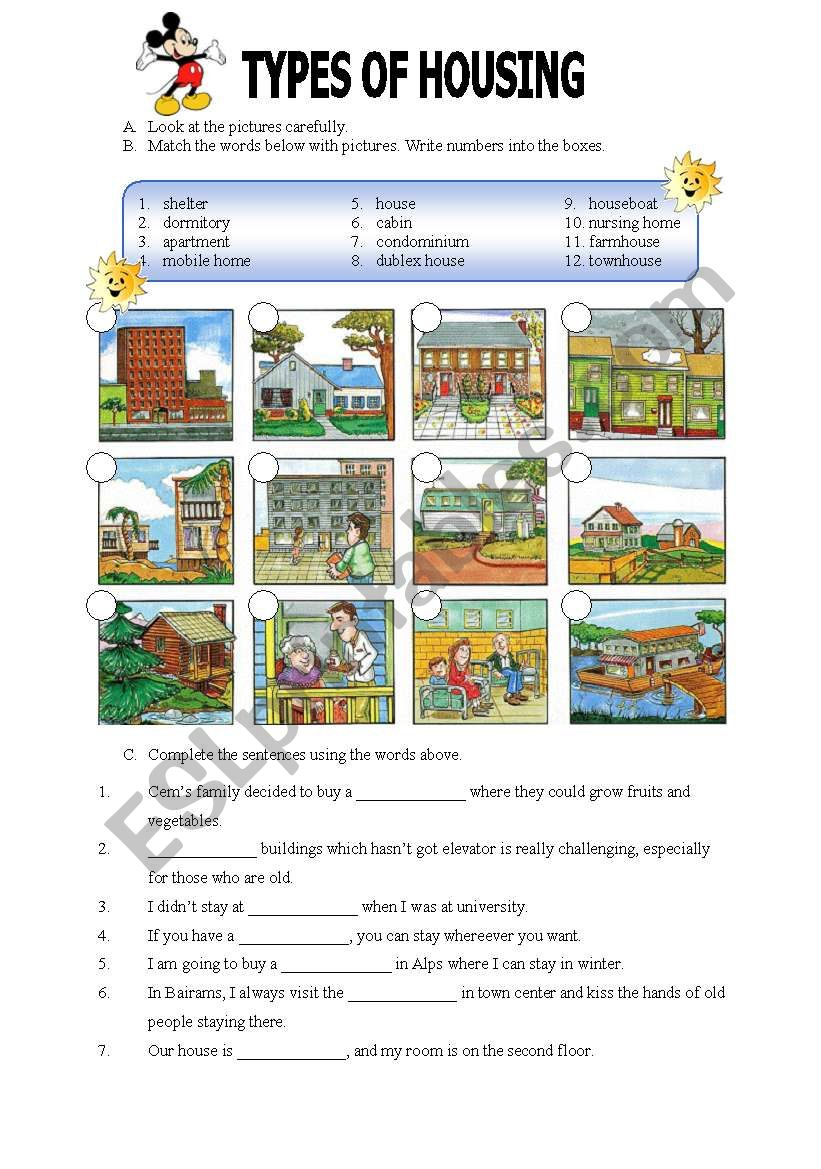 hight resolution of Types of Housing - ESL worksheet by miameto