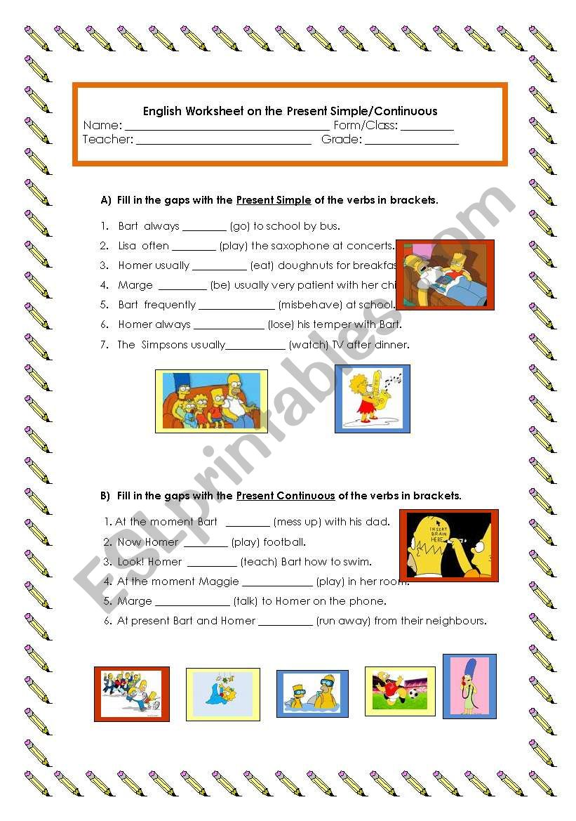 hight resolution of Present simple/Present continuous - ESL worksheet by ocean_rain