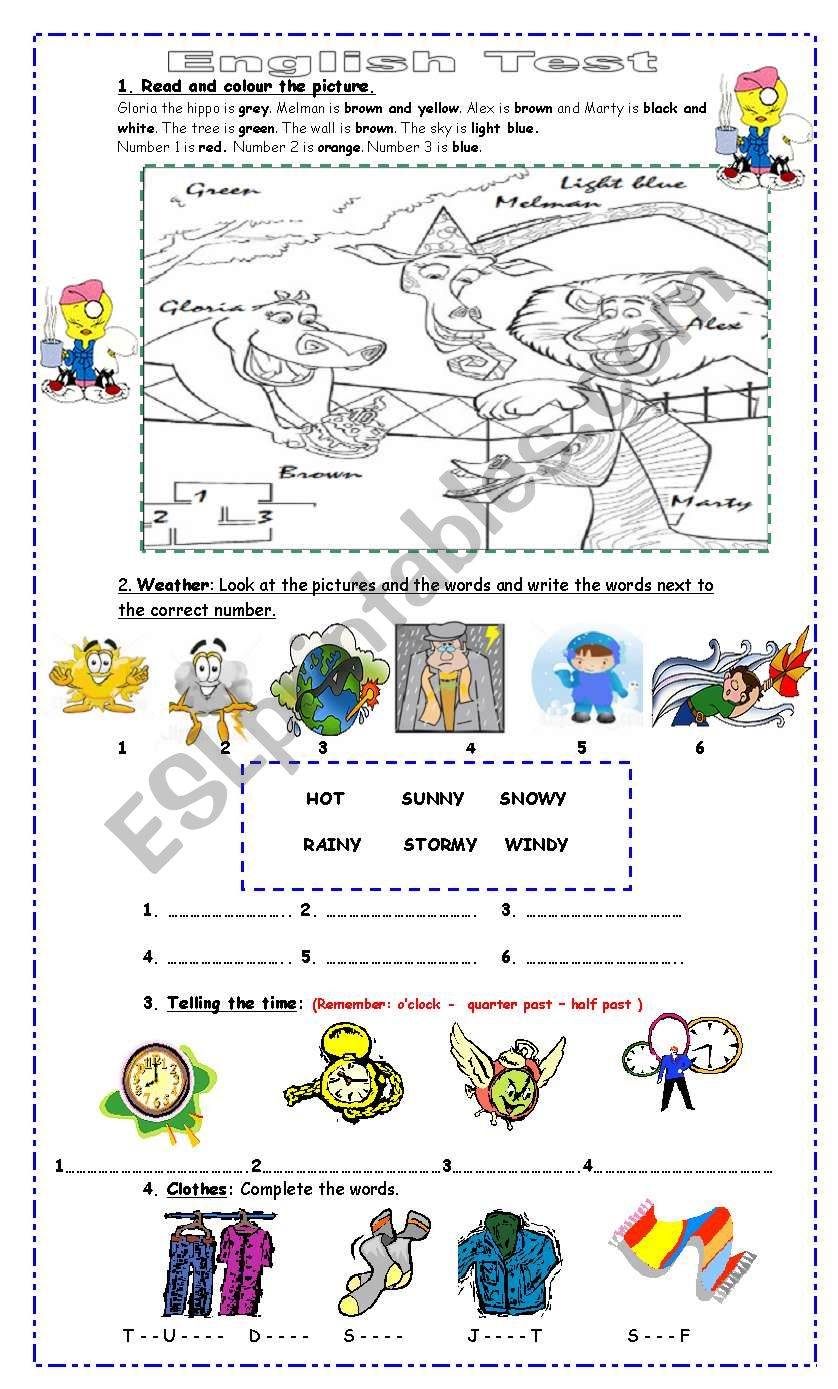 medium resolution of Test for 4th Grade - ESL worksheet by Pacchy