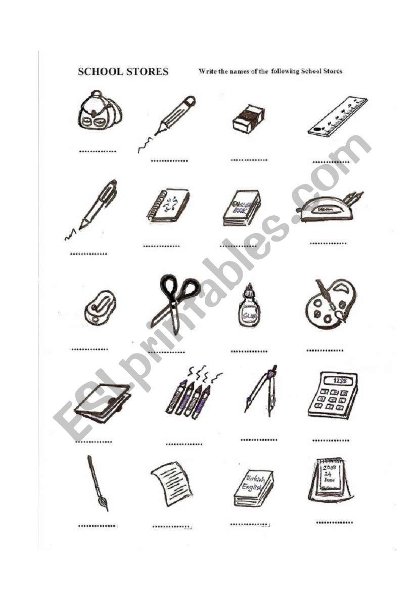 English worksheets: school supplies