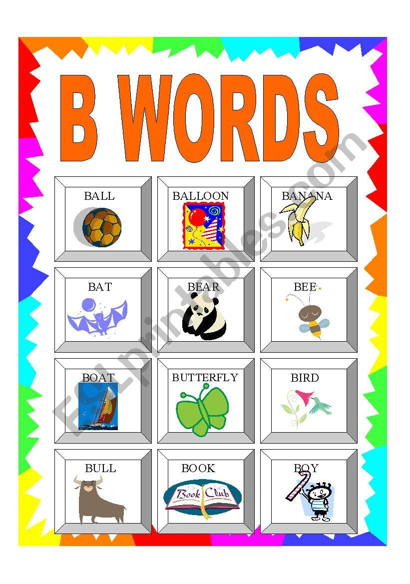 ALPHABET: B WORDS - ESL worksheet by Greek Professor