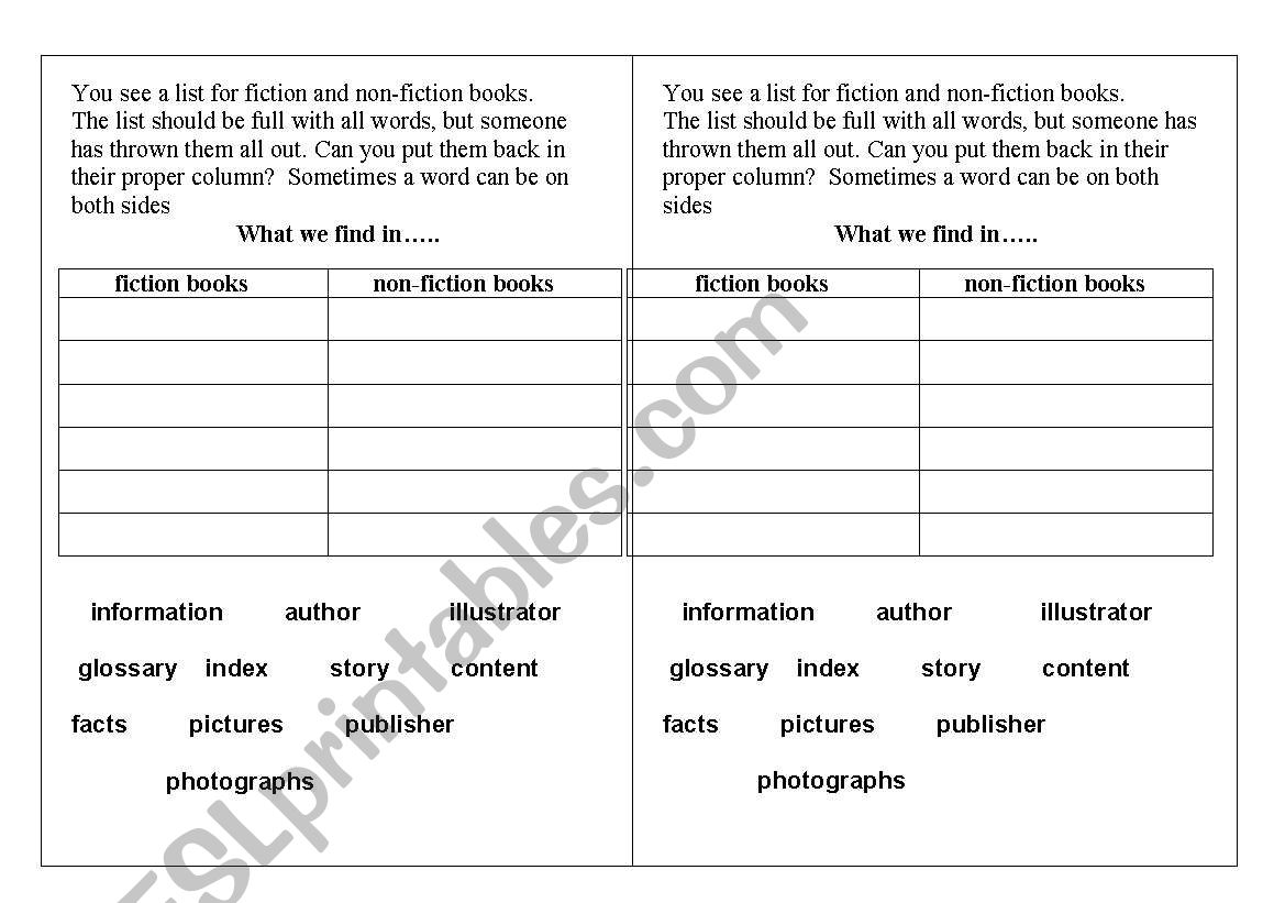 English Worksheets Fiction Vs Non Fiction