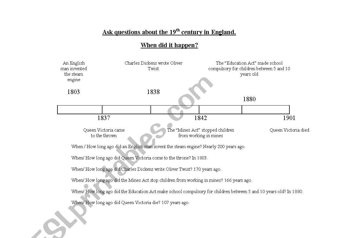 English Worksheets Timeline Of Victorian Times