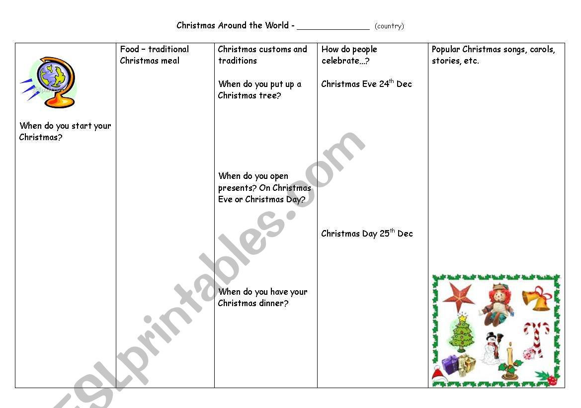 English Worksheets Christmas Around The World