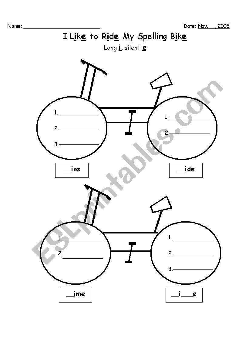 English worksheets: Long i (silent e) Bike Graphic Organizer