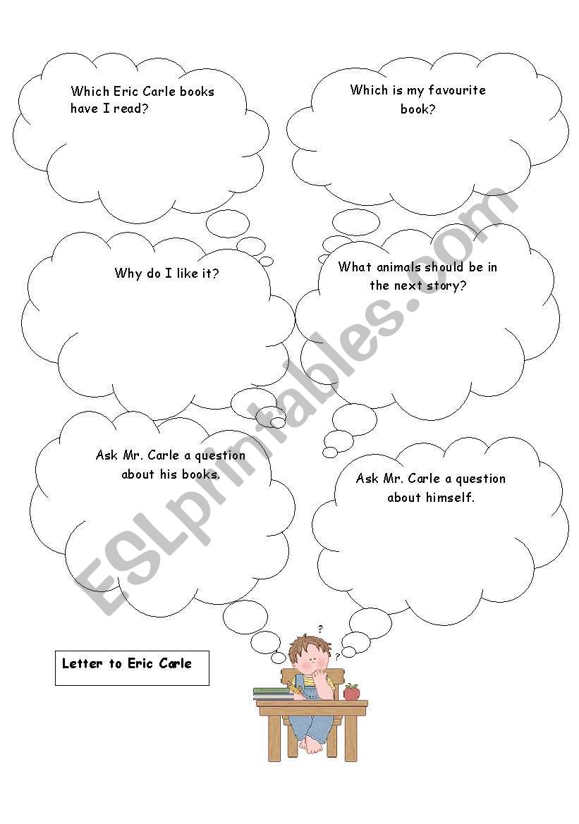 English worksheets: Letter to Eric Carle planning sheet