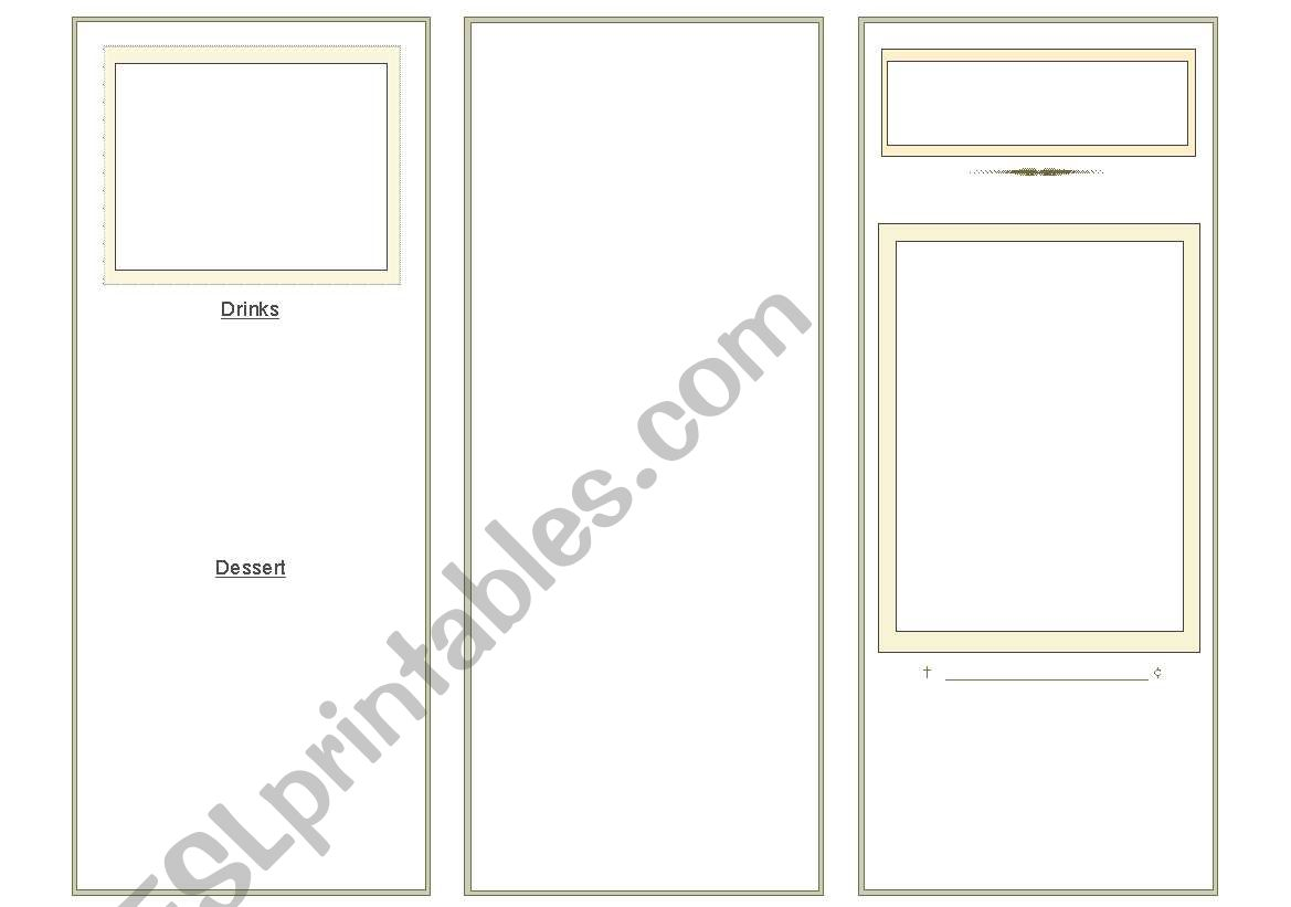 English Worksheets Menu Blank
