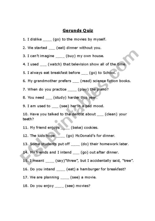 small resolution of English worksheets: Gerund Excercise