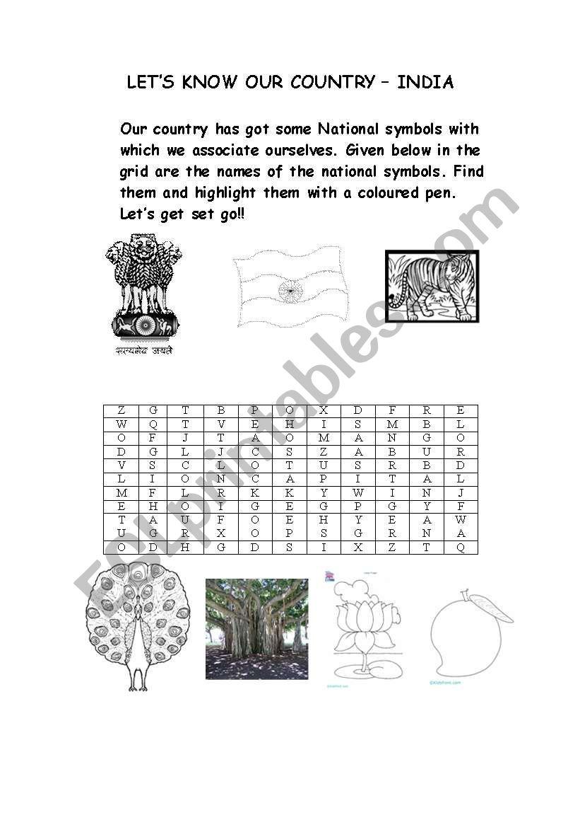 English worksheets: National Symbols Of India