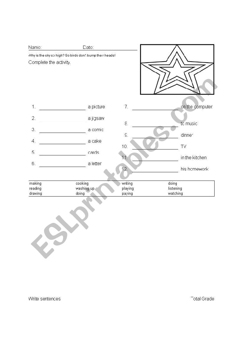 English worksheets: Write sentences using the words above.