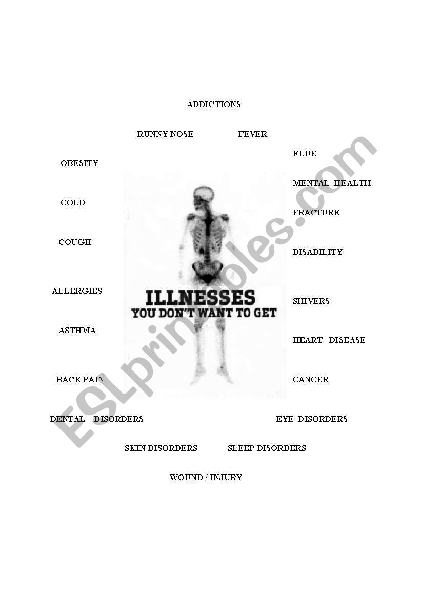 English worksheets: illnesses for upper intermediate students