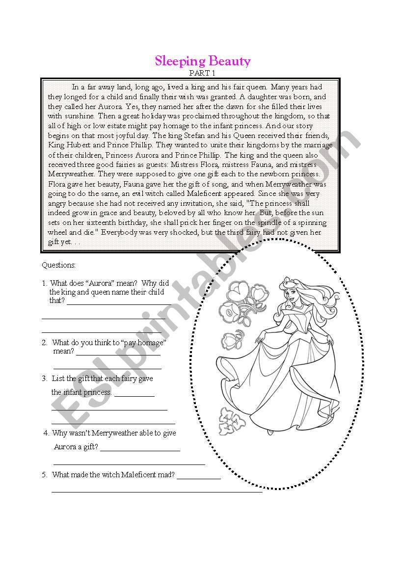 English worksheets: Sleeping Beauty Part 1
