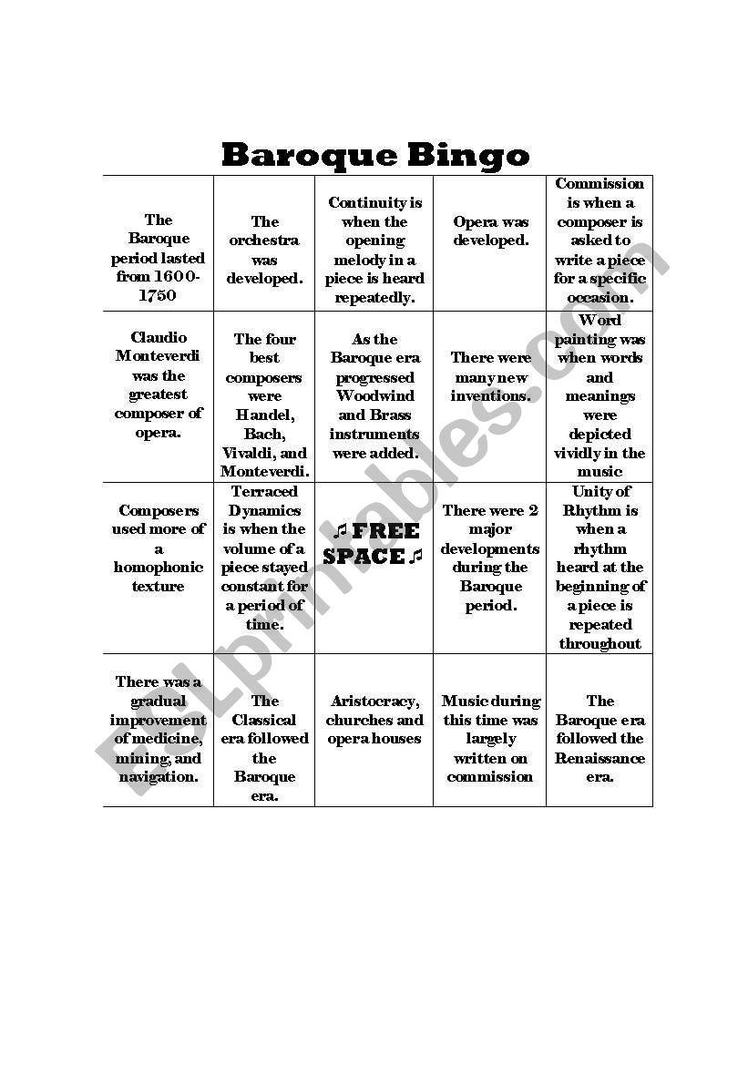 English worksheets: Baroque Bingo