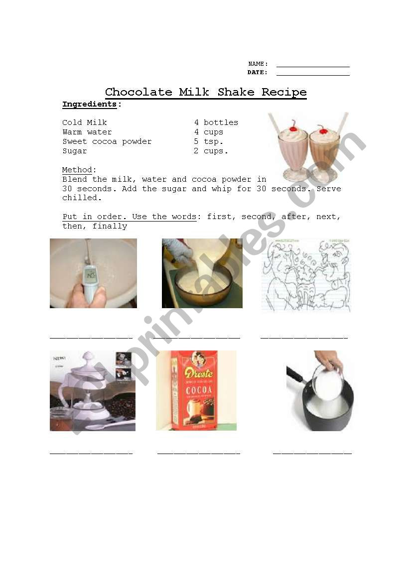 Recipe Sequencing Worksheet