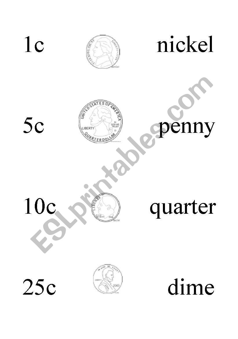 English worksheets: American Coins