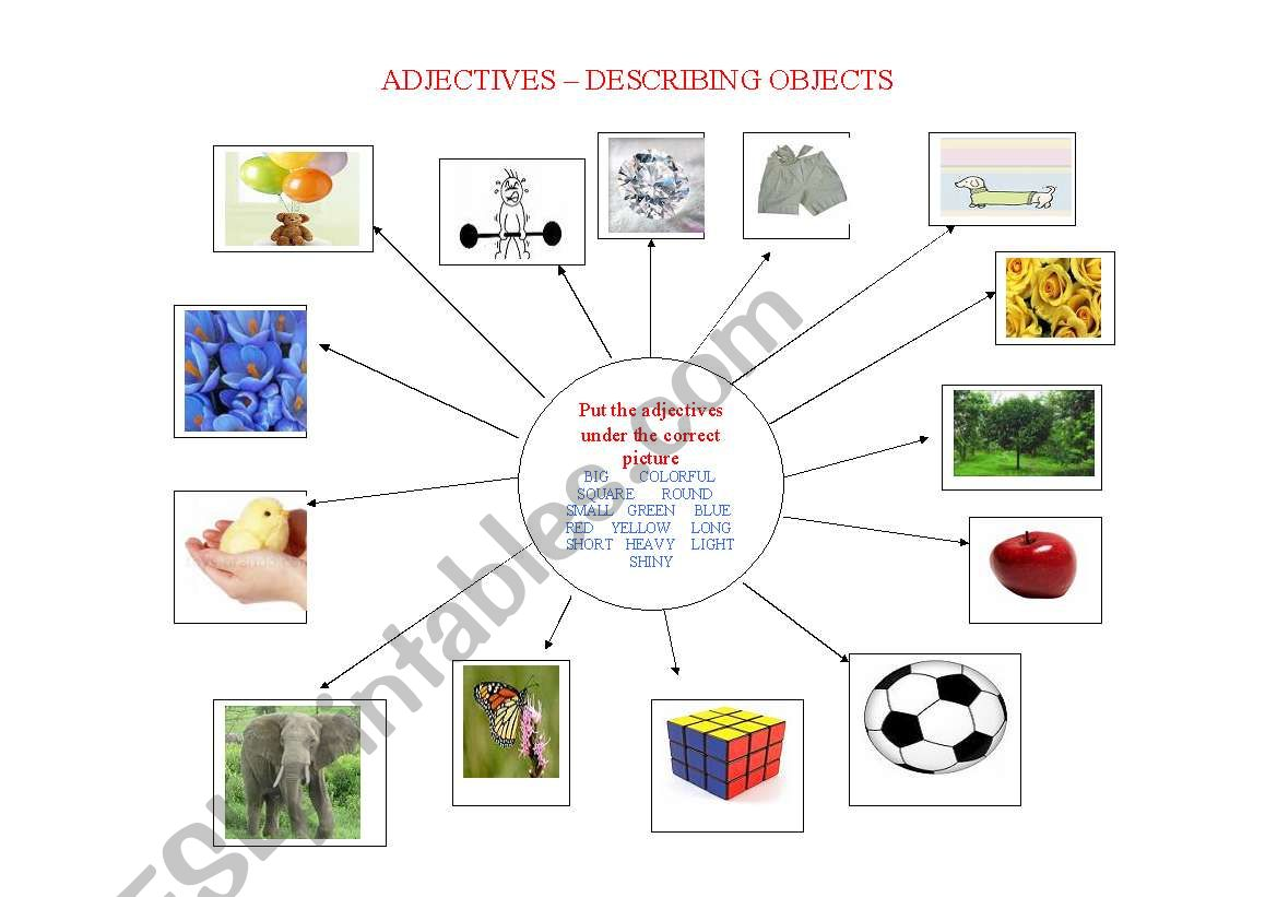 English Worksheets Adjectives Describing Objects