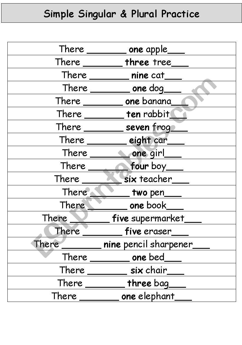 English worksheets: Simple Singular And Plural Worksheet