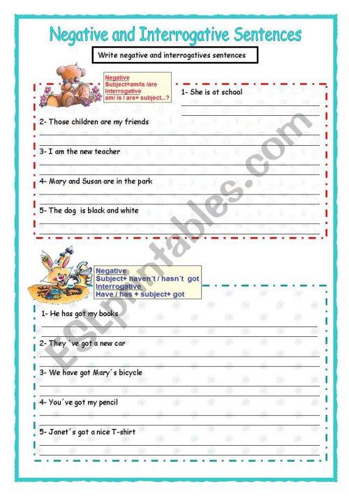 small resolution of Negative and interrogative sentences - ESL worksheet by Malvarosa