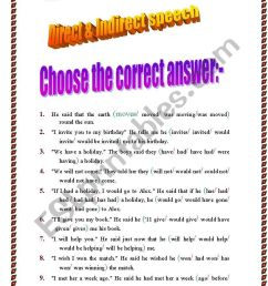 Direct And Indirect Speech Exercises For Class 8 - Exercise Poster [ 1169 x 821 Pixel ]