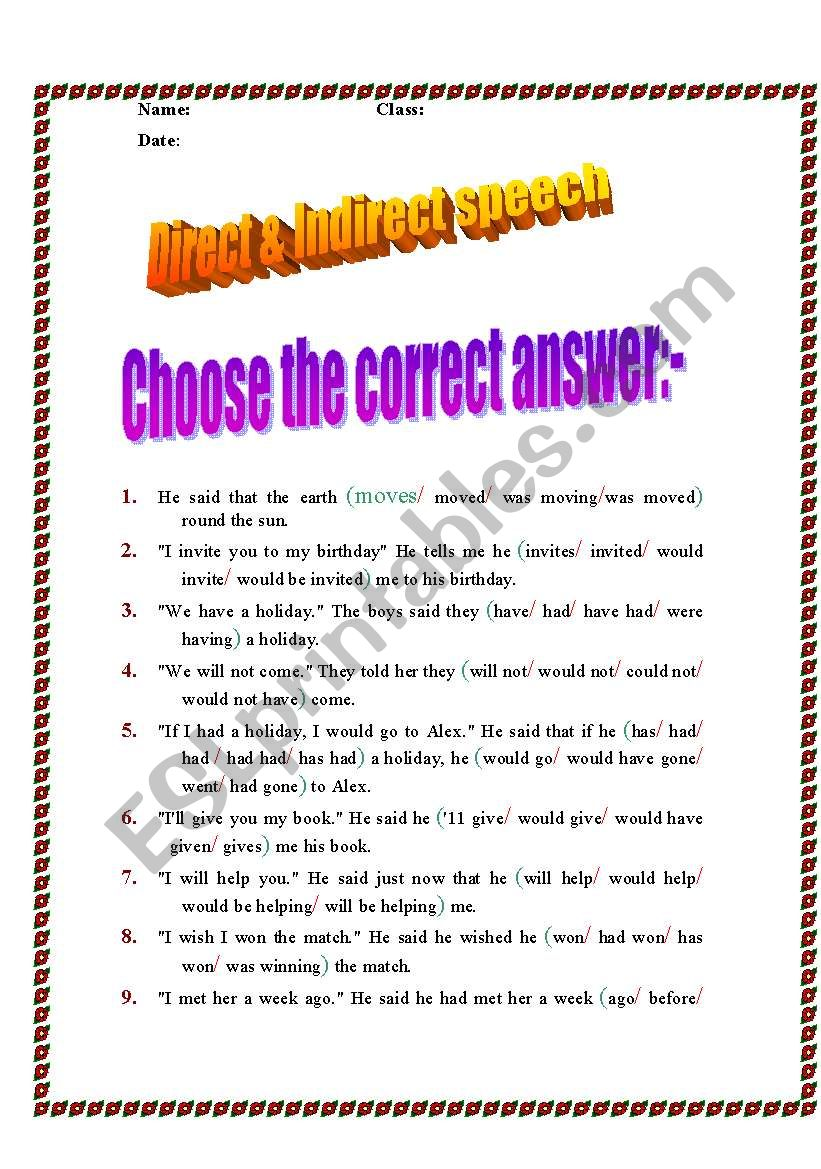 hight resolution of Direct And Indirect Speech Exercises For Class 8 - Exercise Poster