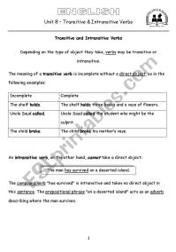 Transitive And Intransitive Verbs Worksheets Image ...