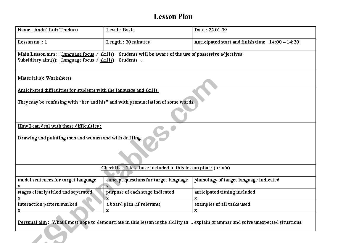 Possessive Adjectives Worksheet Elementary