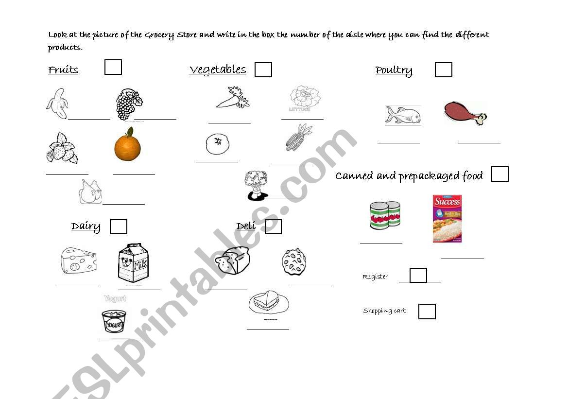 English Worksheets The Grocery Store Page 2