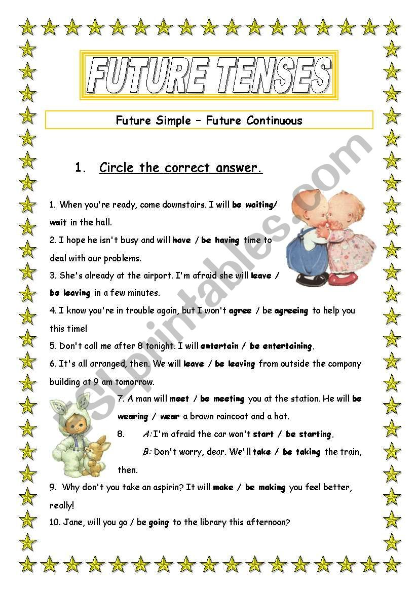 hight resolution of Future tenses - ESL worksheet by Ania Z