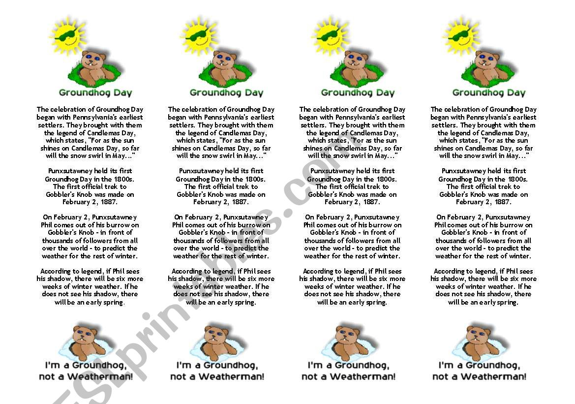 English Worksheets Groundhog S Day Bookmarks