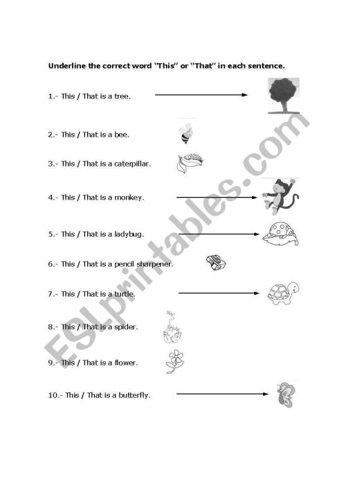 small resolution of English worksheets: This / That (1st grade elementary)