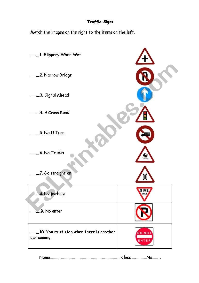 medium resolution of Traffic signs - ESL worksheet by samantaesl
