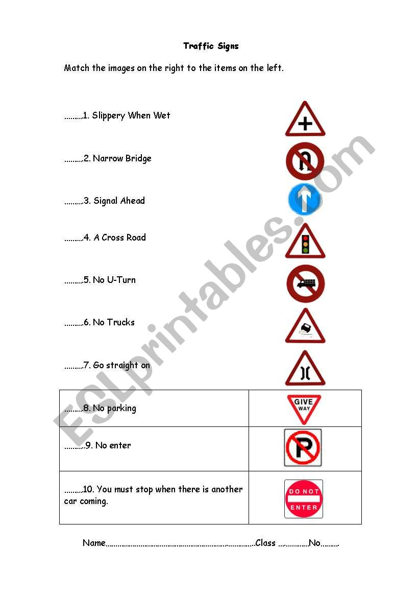 hight resolution of Traffic signs - ESL worksheet by samantaesl