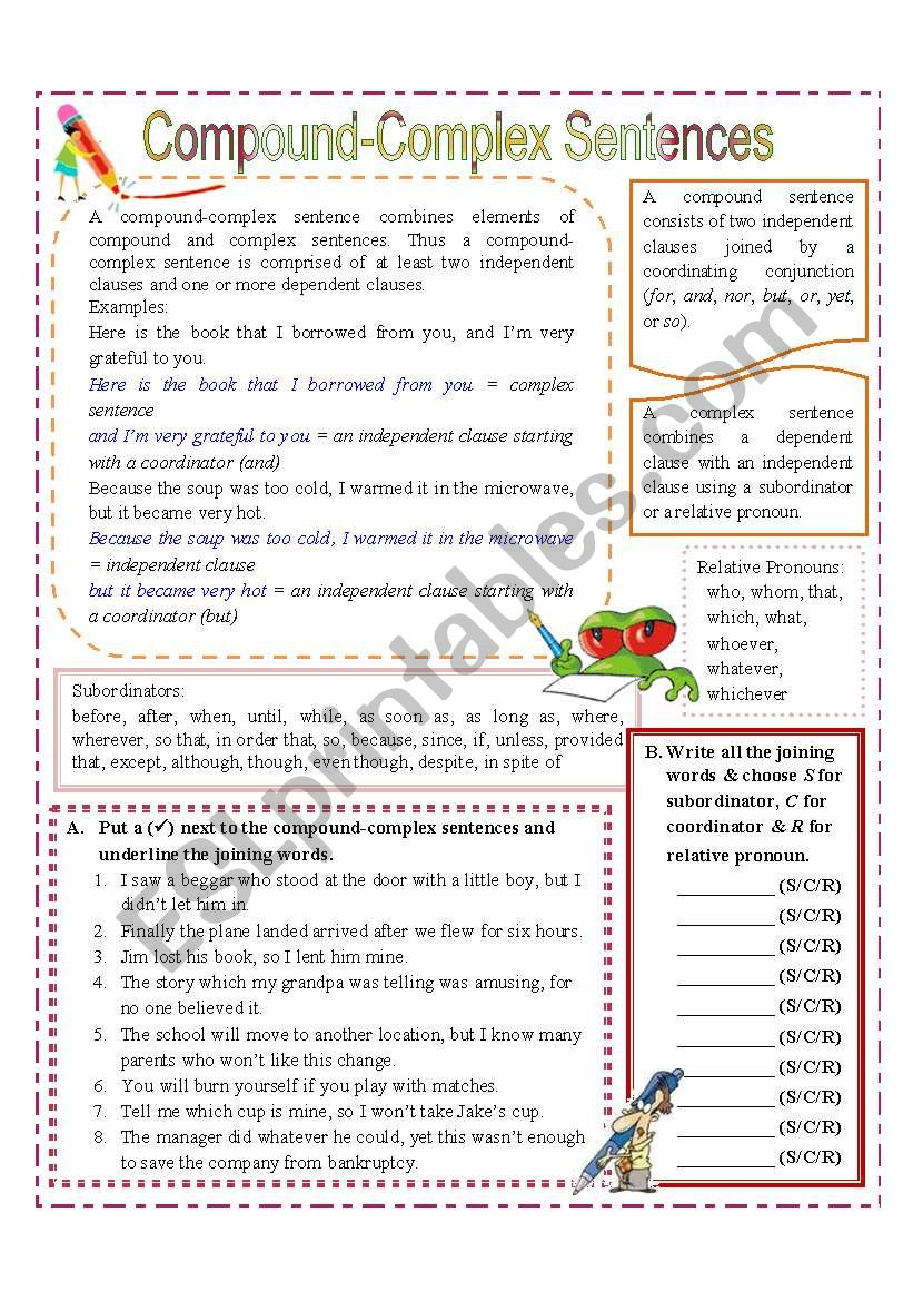 hight resolution of 32 Compound Complex Sentences Worksheet With Answer Key - Worksheet  Resource Plans