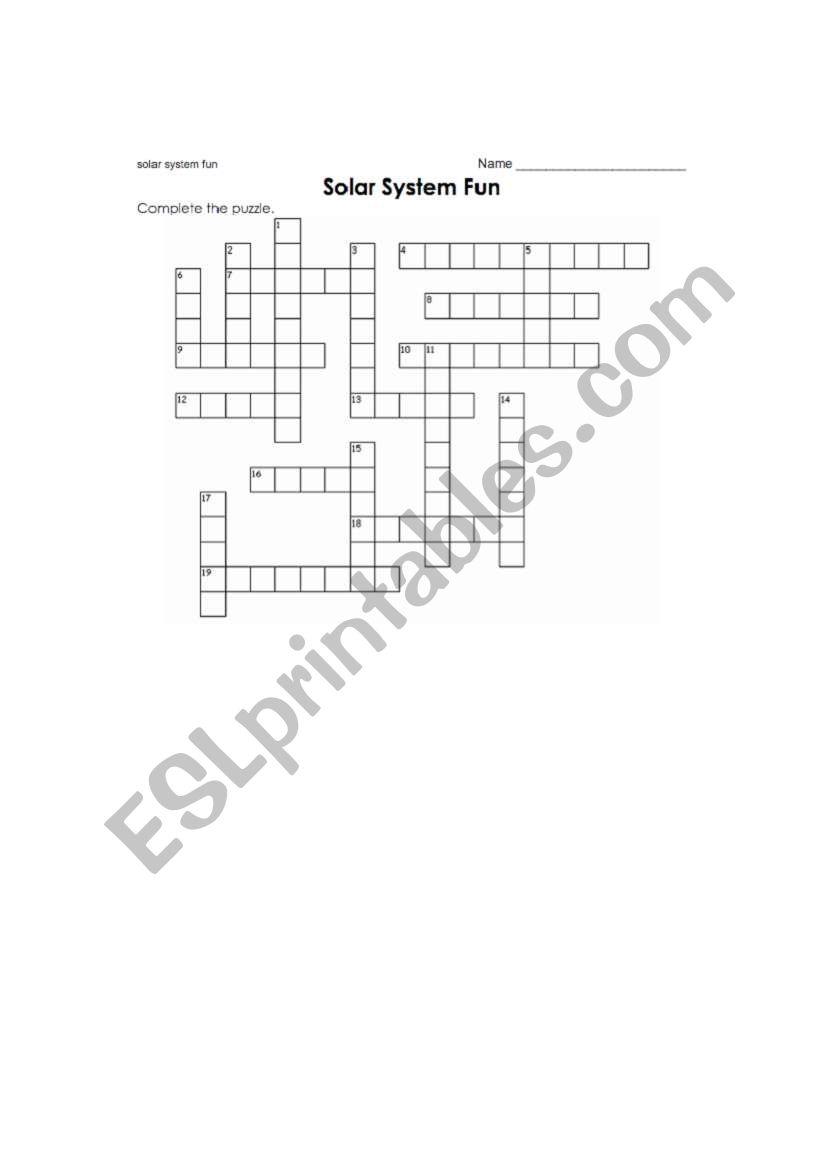 English worksheets: Solar System Cross word