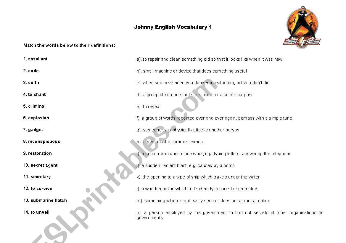 Johnny English Video Class Vocabulary Sheet 1 Of 3