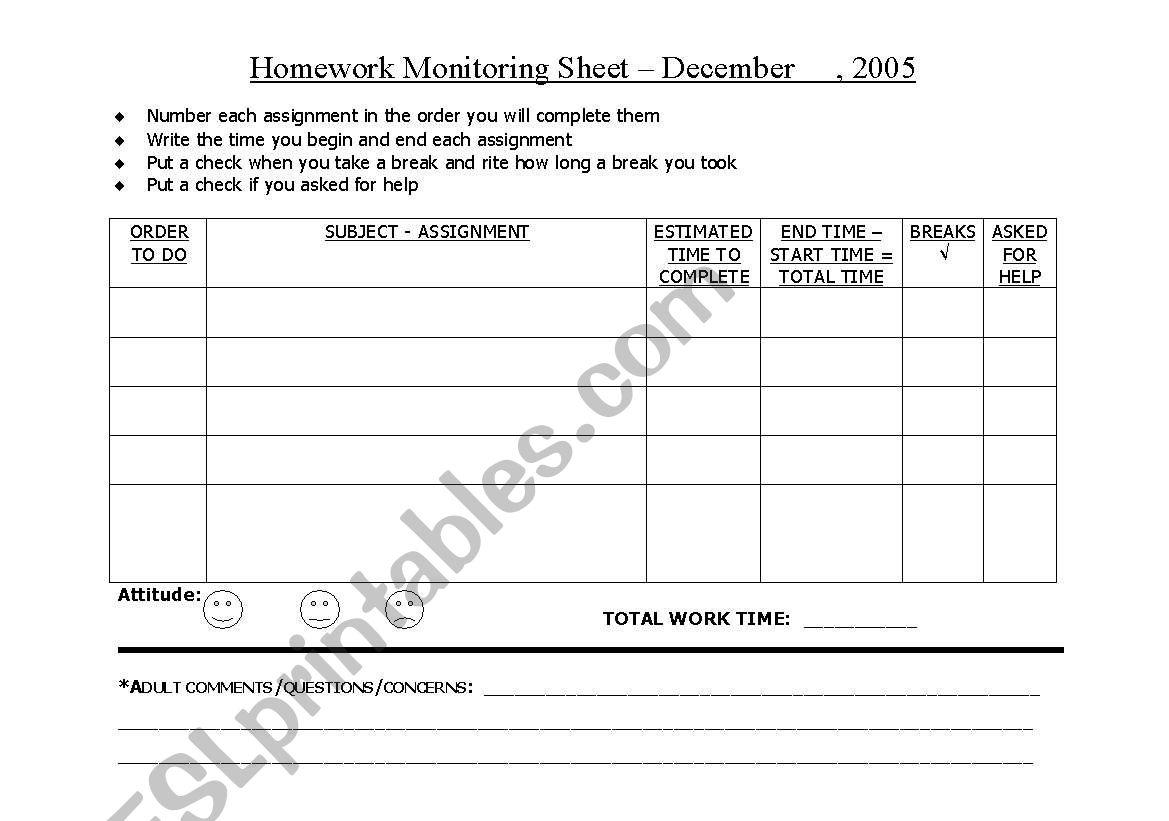 Keeping Track Of Student Homework