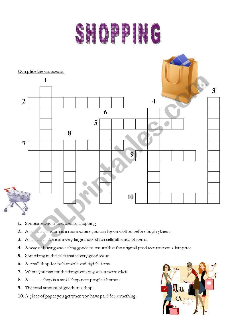 English Worksheets Shopping Crossword