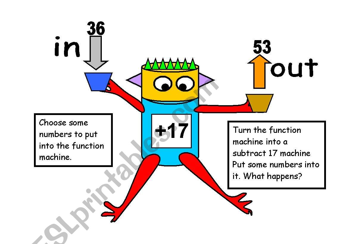 English Worksheets Function Machine
