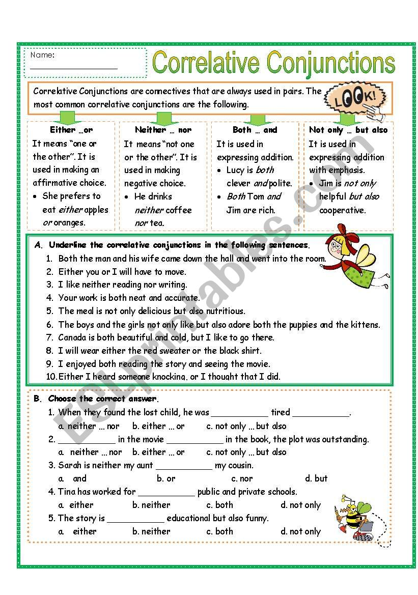 hight resolution of Correlative Conjunctions Exercises With Answers Pdf - Exercise Poster
