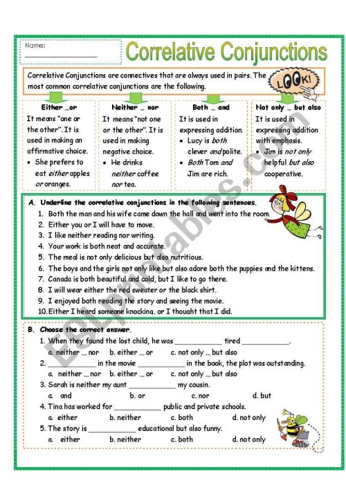small resolution of Correlative Conjunctions Exercises With Answers Pdf - Exercise Poster