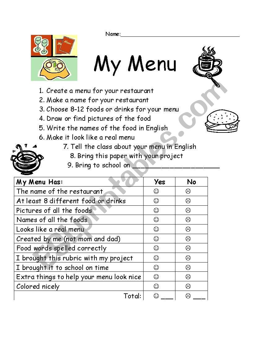 English worksheets: Rubric for making a menu